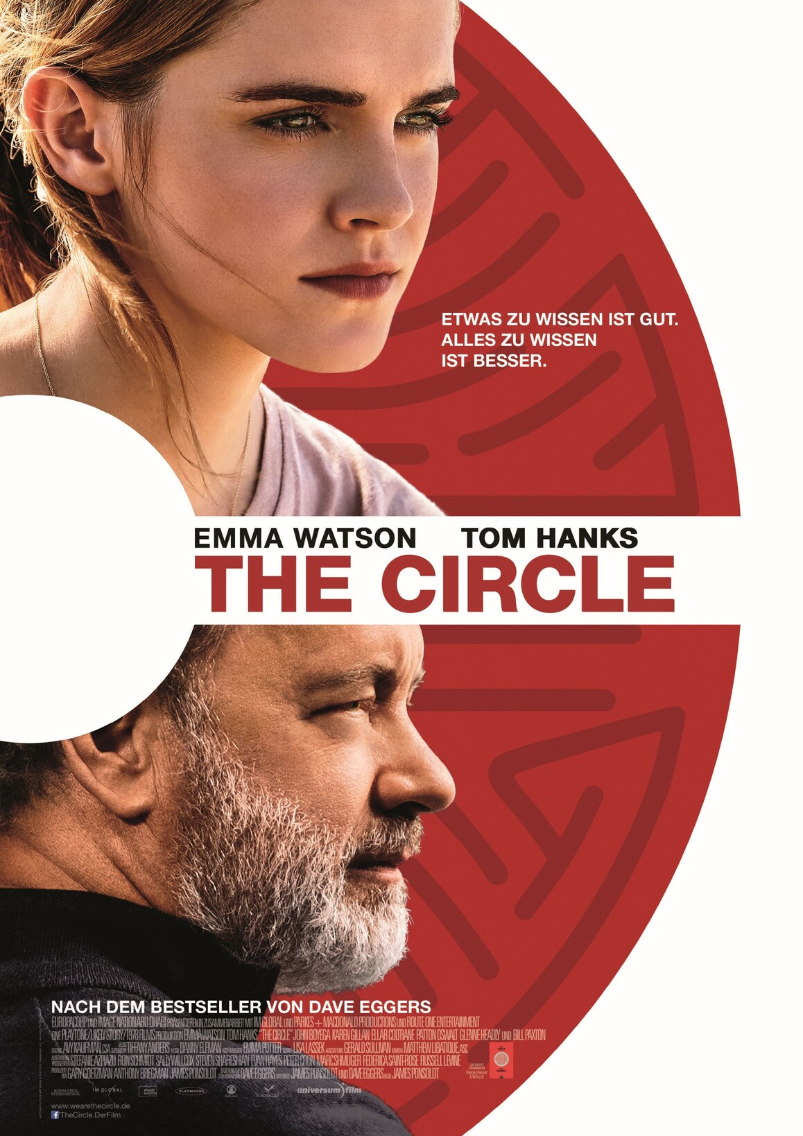 Filmplakat zu The Circle mit Tom Hanks und Emma Watson.